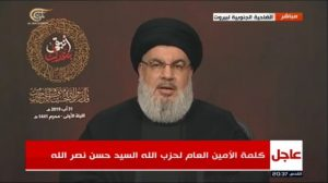 חסאן נסראללה ראש המיליציה הלבנונית חזבאללה